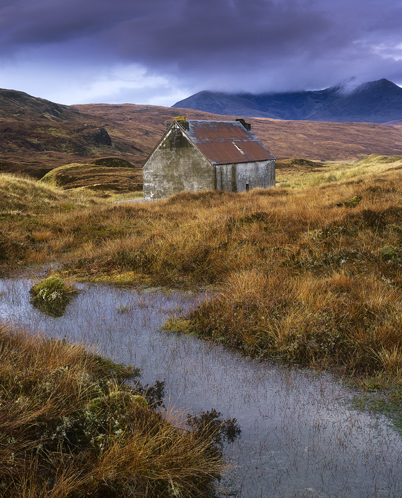 Ceciles House, Braemore Junction, Dundonnell, Scotland, house, derelict, An Teallach, isolated, harsh, indigo, mountains photo