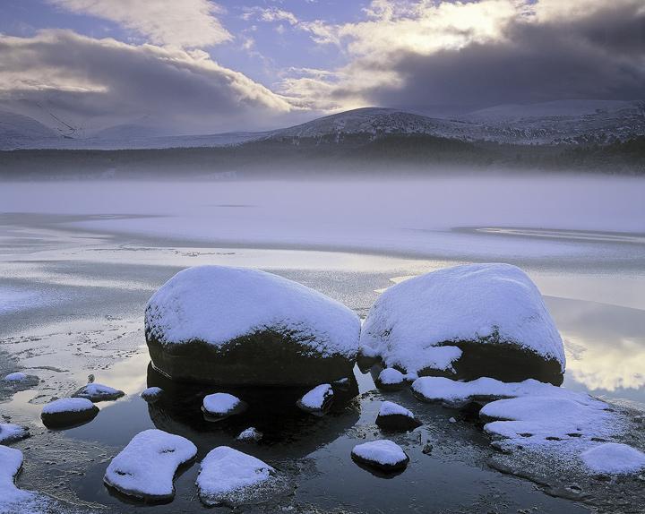 Chilled Loch Morlich, Loch Morlich, Cairngorm, Scotland, beautiful, morning, clouds, frozen, sun, ice, condensation, mis photo