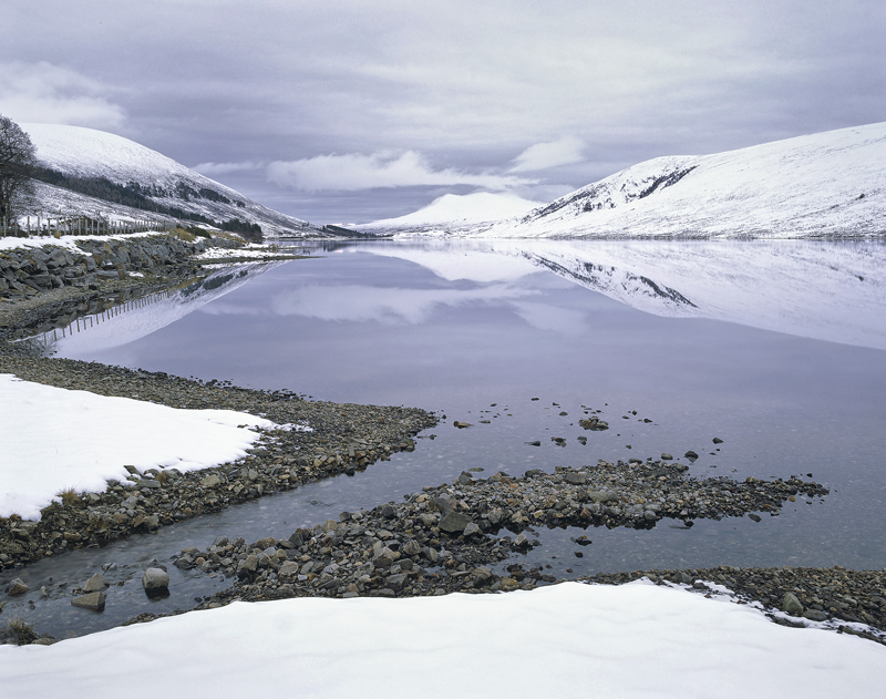 Chroisg Winter Blues, Loch a Chroisg, Torridon, Scotland, reflection, perfect, winter, afternoon, soft, curving, stony,  photo