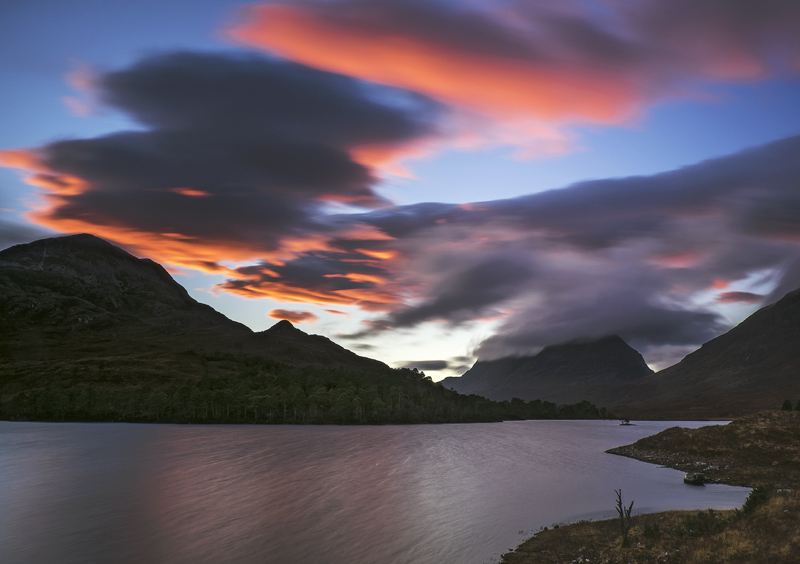Clair Blood, Loch Clair, Torridon, Scotland, sunset, striking, colour, contrast, blue, blood, red, clarity, cloud swept photo
