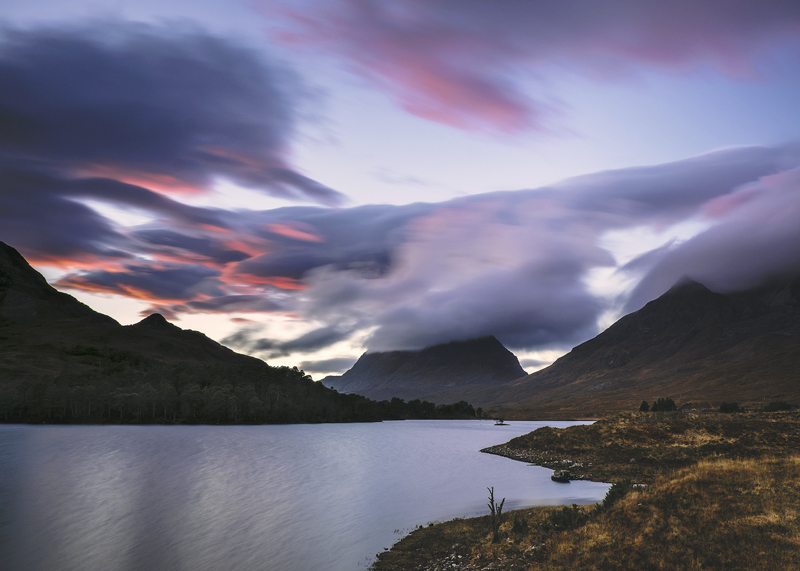 Clair Crimson, Loch Clair, Torridon, Scotland, winter, sunset, colour, clarity, impact, afterglow, lenticular, clouds  photo