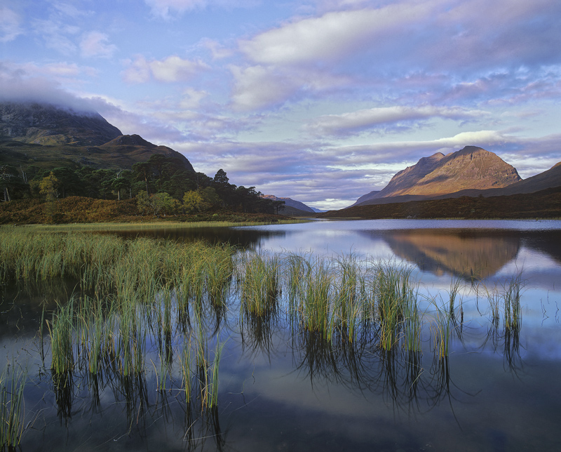 Clair Light, Loch Clair, Torridon, Scotland, morning, sunlight, cold, dawn, frosty, peak, Liathach, reed, reflection photo