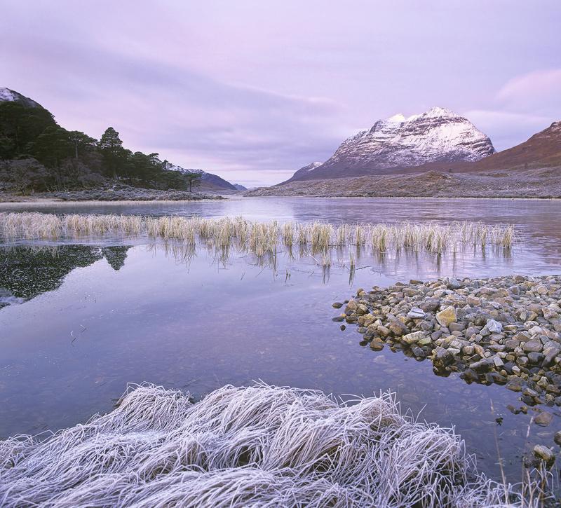 Clair Lilac, Loch Clair, Torridon, Scotland, soft, clouds, pinkening, twilight, pre-dawn, Liathach, snow, Scots pine, re photo