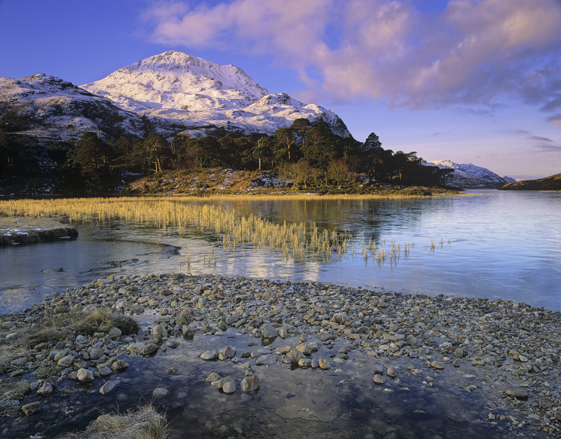 Clair Mountain Light 2, Loch Clair, Torridon, Scotland, nestled, mountains, enchanting, loch, scots pine, winter, snow photo