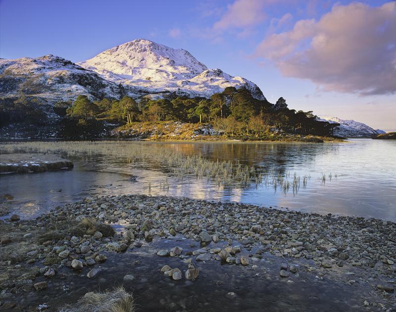 Clair Mountain Light, Loch Clair, Torridon, Scotland, nestled, mountains, winter, snow, summits, golden, scots pine  photo