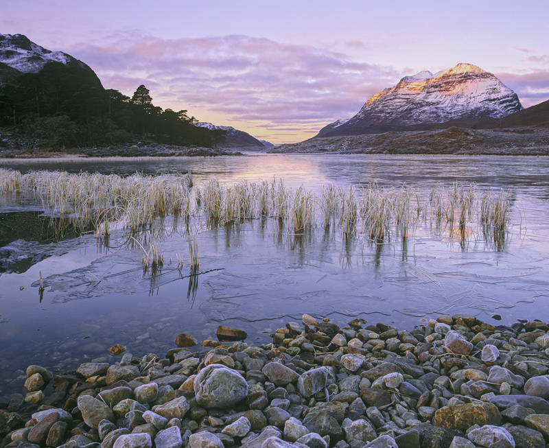 Clair Stoneware, Loch Clair, Torridon, Scotland, frosty, morning, sunrise, water, stoneware, reeds, viewpoint, frosted  photo
