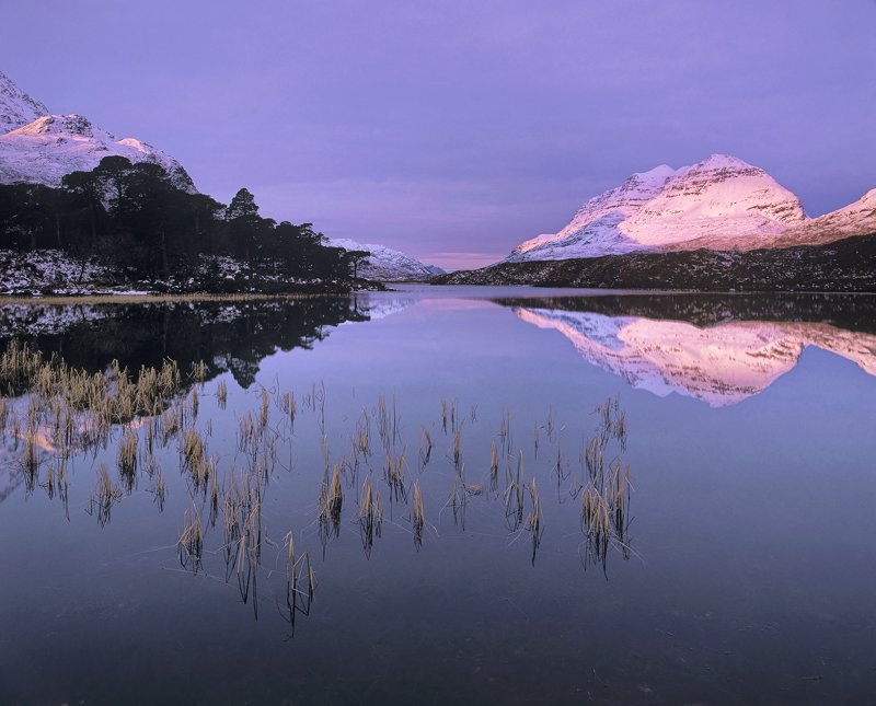 Clair Vermillion, Loch Clair, Torridon, Scotland, astonishing, afterglow, pink, radiant, glow, snow, peak, Liathach photo