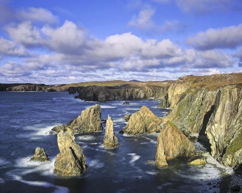 Clash of Titans, Mangerstadh, Lewis, Scotland, clouds, sea, soft, cliff, impressive, shape, overlap, stacks, shadow, dif photo