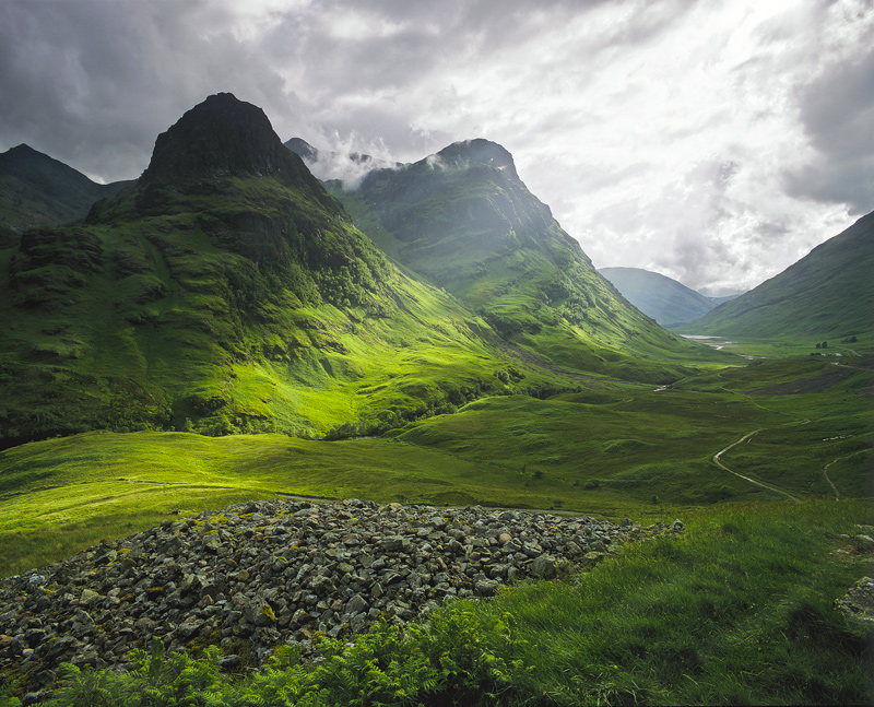clearing, storm, Glencoe, Highlands, Scotland, clouds, sunlight, shaft photo