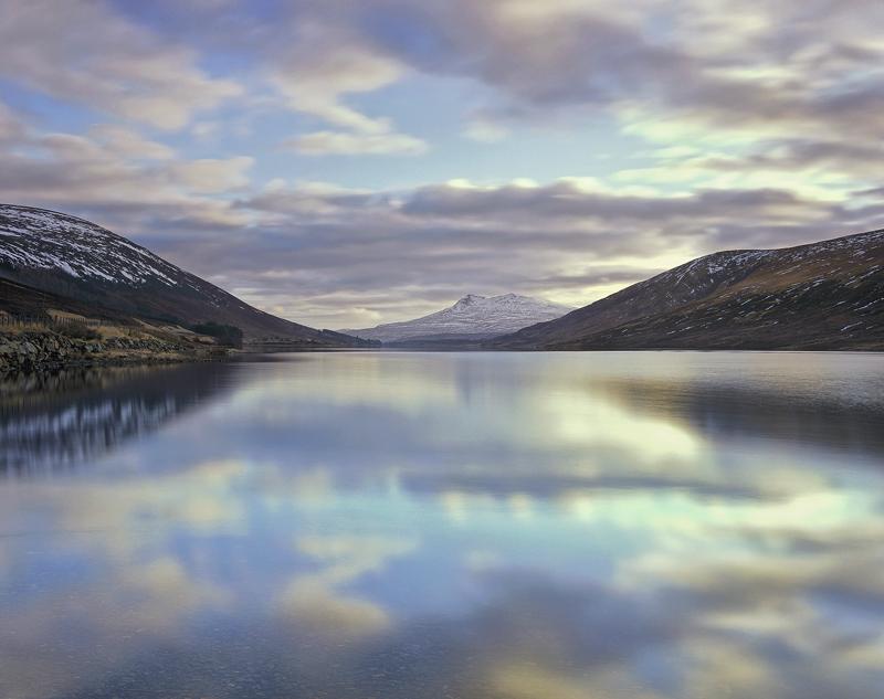 Cloud Mirror, Loch A Chroisg, Achnasheen, Scotland, gorgeous, winter, sky, sunrise, reflected, loch, pink, blue, cyan, g photo