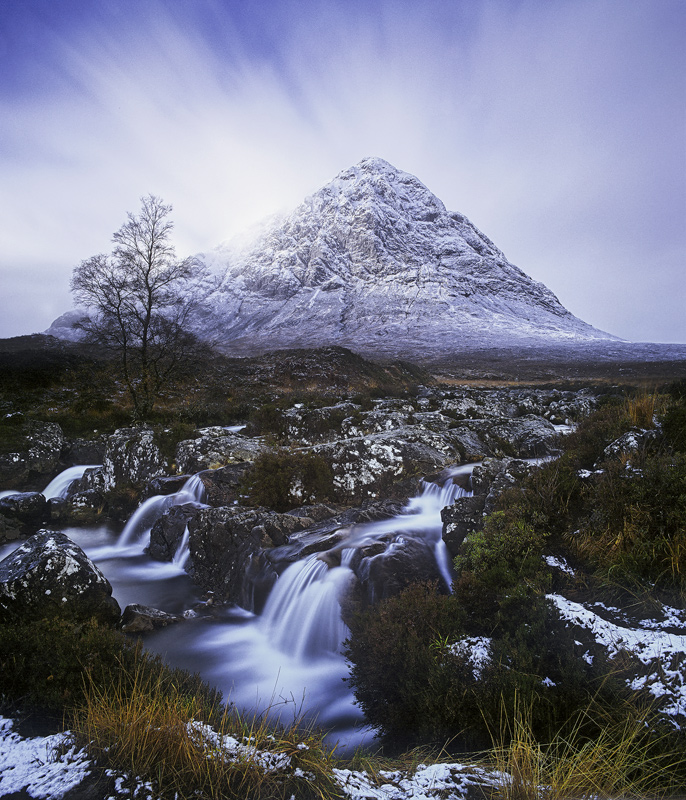 Cloud Burst Buachaille, Rannoch Moor, Glencoe, Scotland, winter, wind, coating, snow, crags, rock, heather, explode, clo photo