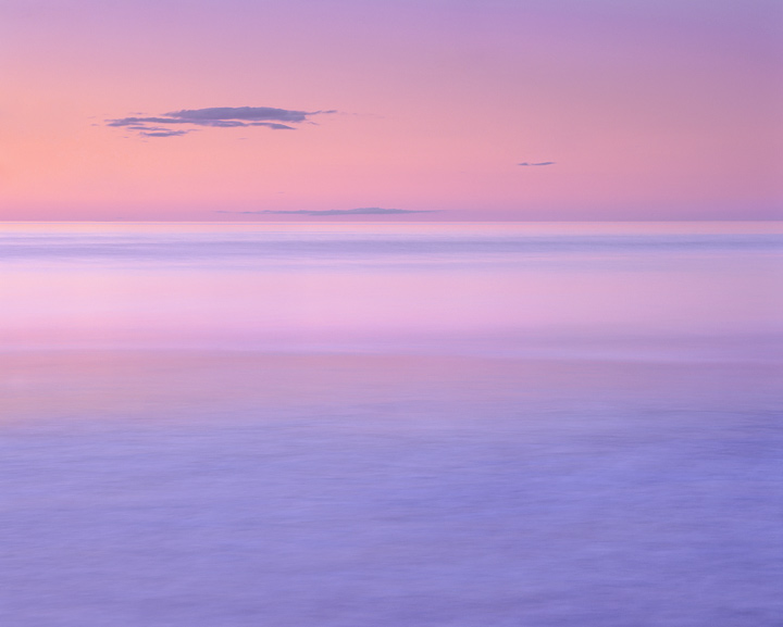 colour wash, Findhorn, Moray, Scotland, Moray Firth, coast, sunset, earth shadow, pink, blue  photo