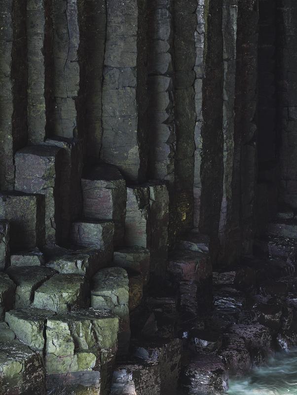 Columns, Staffa, Inner Hebrides, Scotland, recesses, deep, violet, purple, green, darkness, cave, basalt, hexagonal, wat photo