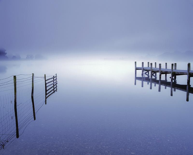 Coniston, blue, Cumbria, Coniston water, England, pre-dawn, twilight, mist, magical photo