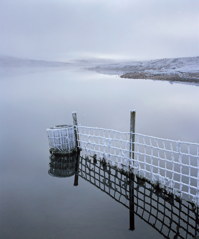 Creeping Cold, Loch A Chroisg, Achnasheen, Scotland, extreme, low, temperatures, freezing, mist, frost, hoar, water, ref photo