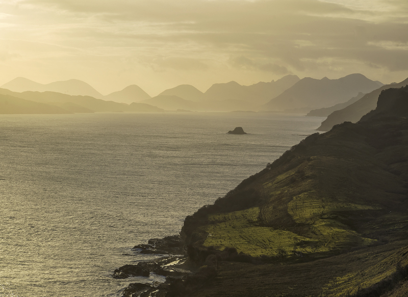 Cuillins Gold, Lealt, Skye, Scotland, holm, island, gold, sunlight, watery, lemon, mist, cloud, rain, Raasay, Minch photo