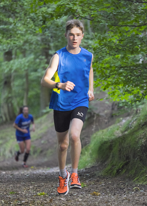 David Scott (13) leading Kirsty on the 7th climb of Diagon Alley in the woodland tracks above Grant park in Forres.