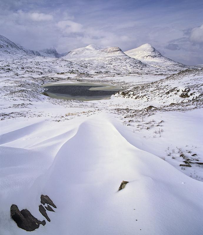 Drift Lines Drumrunie, Drumrunie, Inverpolly, Scotland, beautiful, sculpted, snow, lines, triangulate, frozen, basin  photo