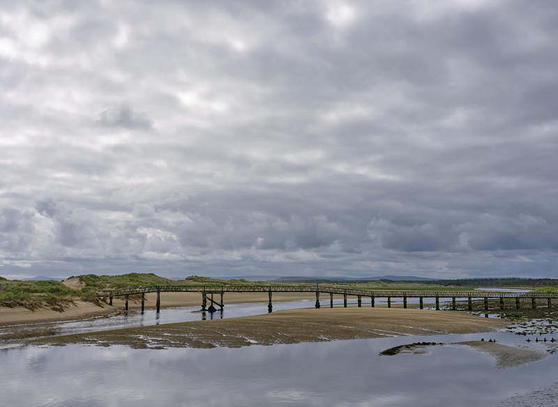 East Beach Footbridge, Lossiemouth, Moray, Scotland, spans, river, Lossie, sea, out of bounds, unsafe, footbridge, grey photo