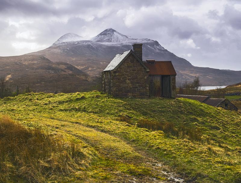 Elphin Bothy 1, Elphin, Assynt, Scotland, Spring, sunlight, weather, light, Cul Mor, grass, backlighting  photo