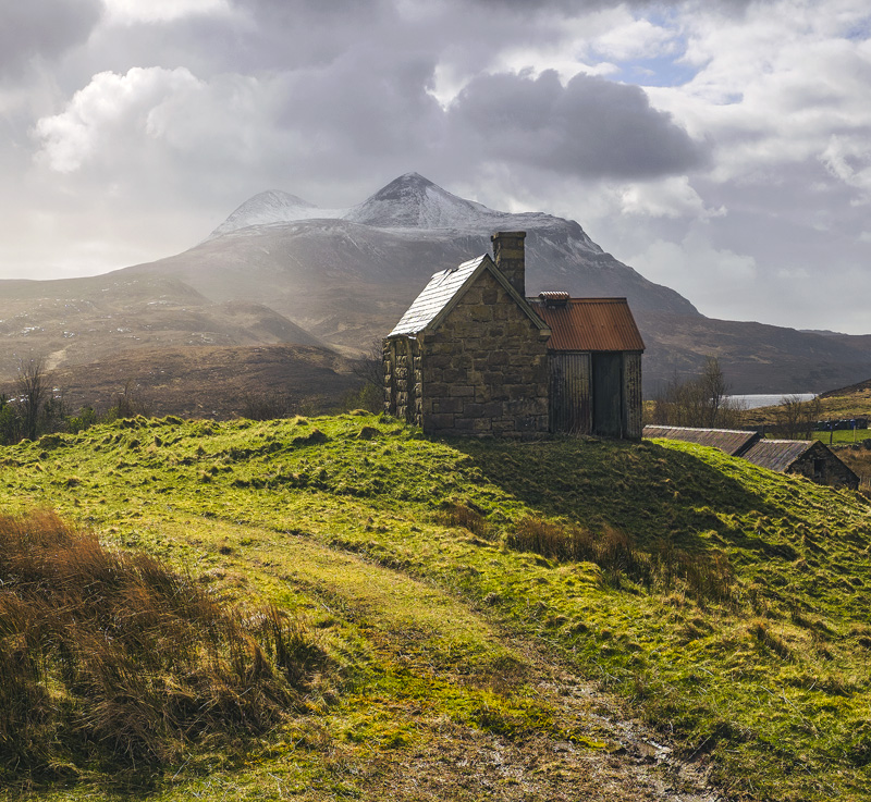 Elphin Bothy 2, Elphin, Assynt, Scotland, location, backlighting, visual, light, weather, Spring, reflects, roof photo