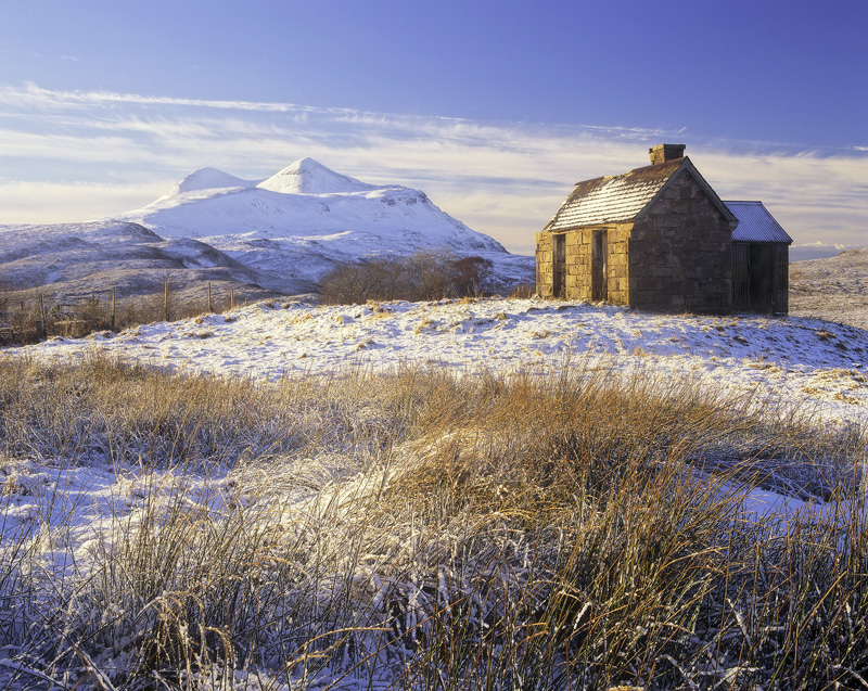 Elphin Winter, Elphin, Assynt, Scotland, idyllic, winter, afternoon, dusting, snow, abandoned, house, Cul Mor, brilliant photo
