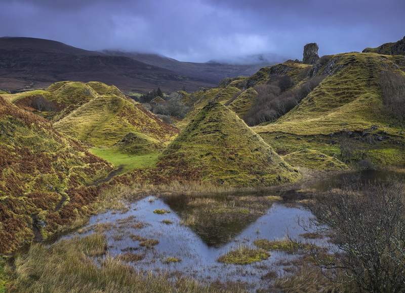 Fairy Cones, Fairy Glen, Skye, Scotland, magical, mounds, conical, eroded, sheep, reflections, winter, heavy cloud, suns photo
