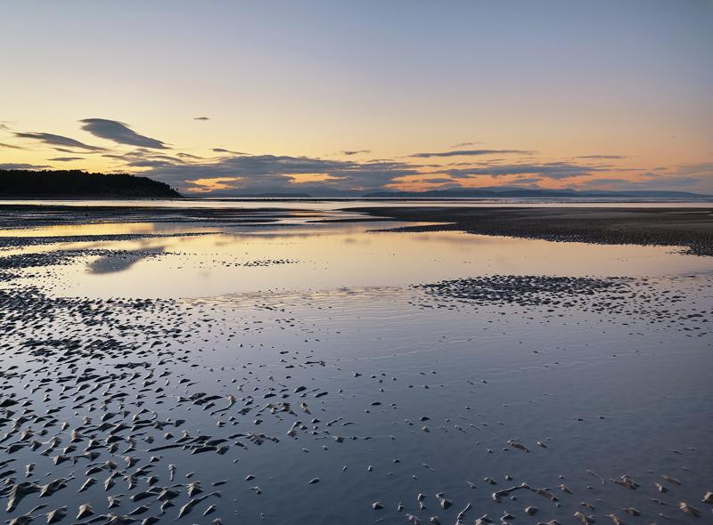 Findhorn Bronze, Findhorn, Moray, Scotland, beautiful, wind, clouds, still, reflection, tide, pool, golden, sand, ripple photo