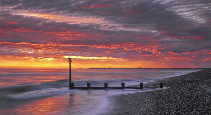 Findhorn Firestorm Pano, Findhorn, Moray, Scotland, beautiful, light, fishing, town, Burghead, groyne, post, silhouetted photo
