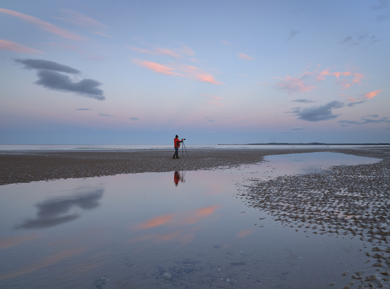 Findhorn Highlights, Findhorn, Moray, Scotland, cloud, light, Earth's shadow, red, jacket, blue, twilit, figure, scale,  photo