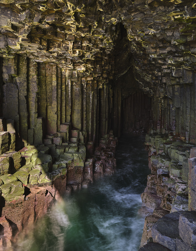Fingal's Cave 2, Staffa, Inner Hebrides, Scotland, Mull, island, basalt, algae, colour, wave, cavity, surging, hexagonal photo
