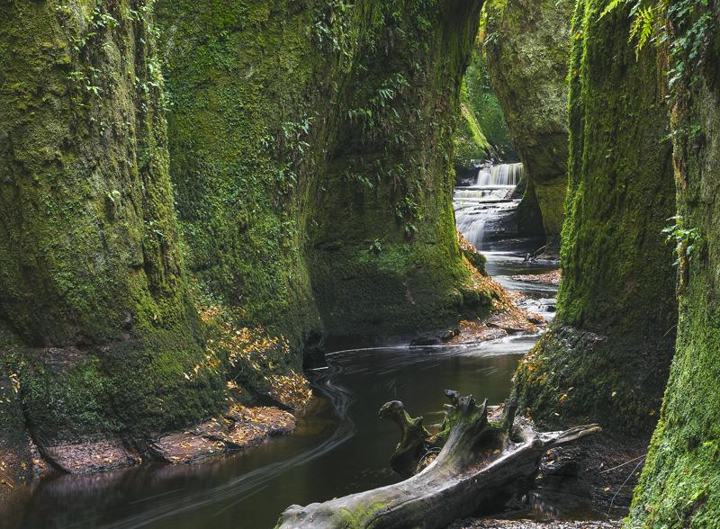 Finnich Glen Passage, Finnich Glen, Trossachs, Scotland, lofty, mossy, gorge, drapery, walls, languidly, river, sandtone photo