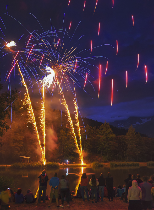 Fireworks 11, Les Houches, Chamonix, France, Bastille Day, town, village, epic, fantastic, displays, darkness, lake, aud photo