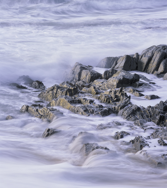 Flow Traigh Mhor, Traigh Mhor, Harris, Scotland, sunset, west coast, beach, waves, jagged, gneiss, sea, pale, blue, warm photo