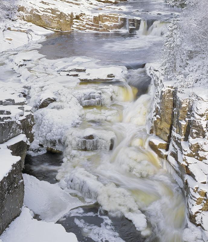 Frozen Falls Strathgarve, Strathgarve, Garve, Scotland, river, flow, Clascarnoch, bridge, thick, ice, arctic, rocky photo
