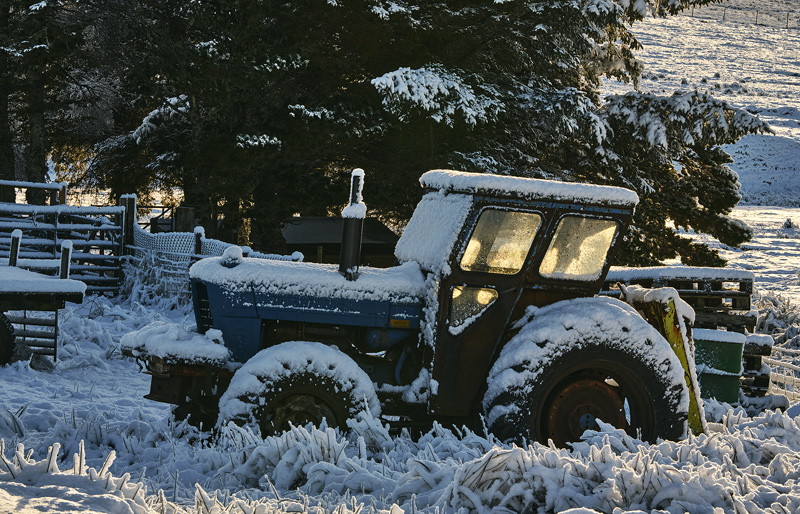 Furloughed, Crask Inn, Sutherland, Scotland, furloughed, tractor, snow, rust, golden, sunlight, windows, warm, cool, blu photo