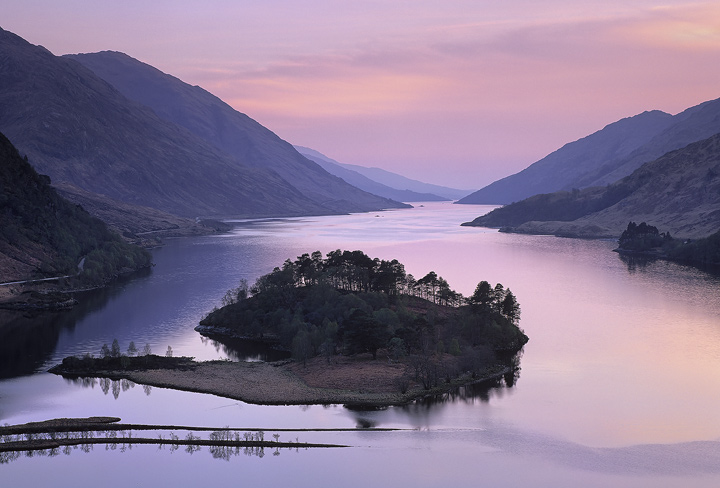 Glenfinnan Dusk, Glenfinnan, Highlands, Scotland, loch, narrow, monument, pink, afterglow, twilight, blue, island, dusk photo