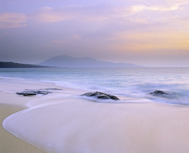 Gneiss and Easy, Traigh Mhor, Harris, Scotland, soft, sunset, sandy, beach, tidal, swirling, line, smooth, linear, backs photo