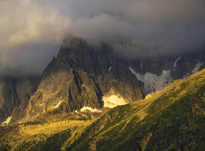 Golden Hour Aiguille, Les Houches, Chamonix, France, stormy, sulky, sky, gold, drama, last light  photo