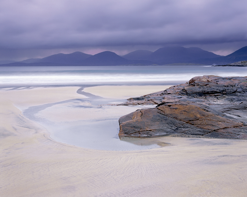 Harris Purple, Traigh Rosamol, Harris, Scotland, mountain, gneiss, rock, peaks, colour, water, sea, thread, dusk photo