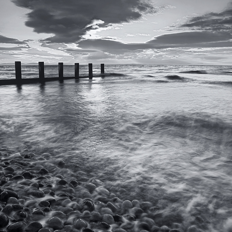 High Water Surge, Findhorn, Moray, Scotland, winter, sunset, high tide, shiny, pebbles, wet, black and white, texture, g photo