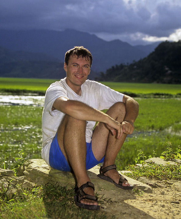A self portrait of myself sitting by the rice plantations at Phewa in Pokhara, Nepal.