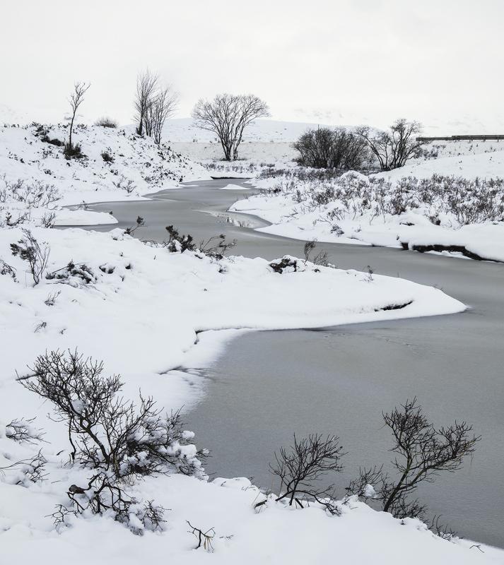 Ice 3 Loch Ba, Rannoch Moor, Glencoe, Scotland, meandering, frozen, thick, slushy, snow, stream, white, delicate, tracer photo