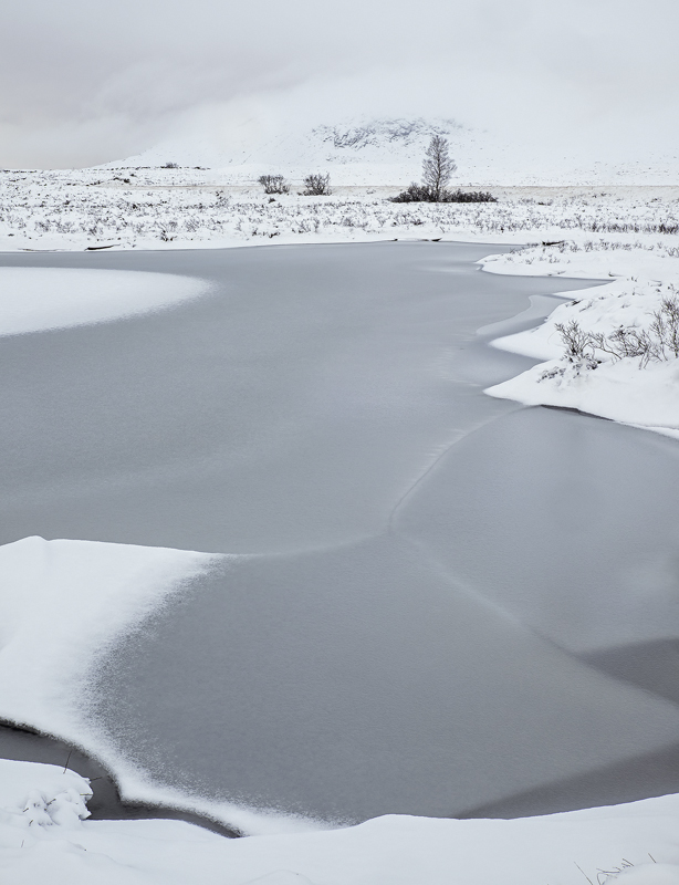 Ice 5 Loch Ba, Rannoch Moor, Glencoe, Scotland, bleak, desert, winter, blanket, thick, new, snow, barren, featureless   photo
