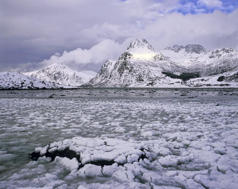 Ice Bath Flakstad Fjord, Flakstad Fjord, Lofoten, Norway, air, temperature, bergs, freeze, chunks, ice, peaks, sunlight photo