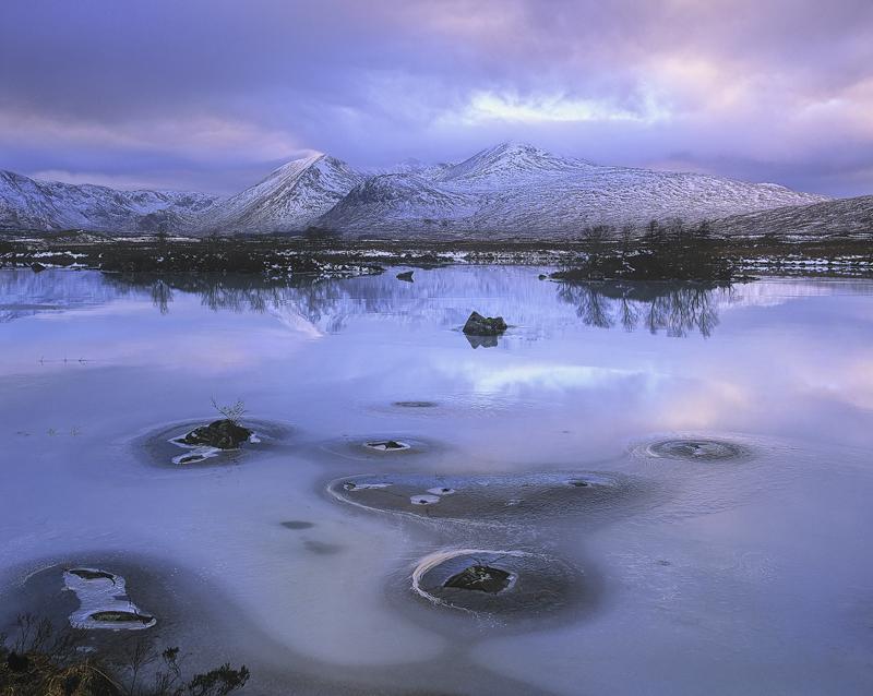 Ice Candy Rannoch, Rannoch Moor, Glencoe, Scotland,light, sumptuous, warm, cool, sunset, blend, colours  photo