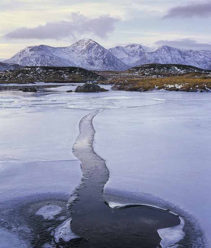 Ice Channel Rannoch, Rannoch Moor, Glencoe, Scotland, gap, ice, sheet, lochans, Blackmount, snow, water  photo
