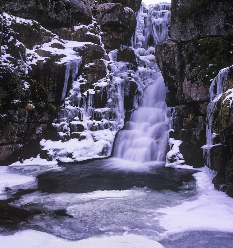 Ice Foundry, Ardessie, Wester Ross, Scotland, Dundonnell, winter, ice, splash bowl, cascade, falls, spectacular  photo