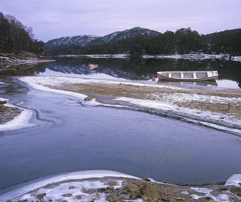 Ice Mooring Glen Affric, Glen Affric, Highlands, Scotland, complex, curves, opposing, mirror, interlocking, land, water, photo