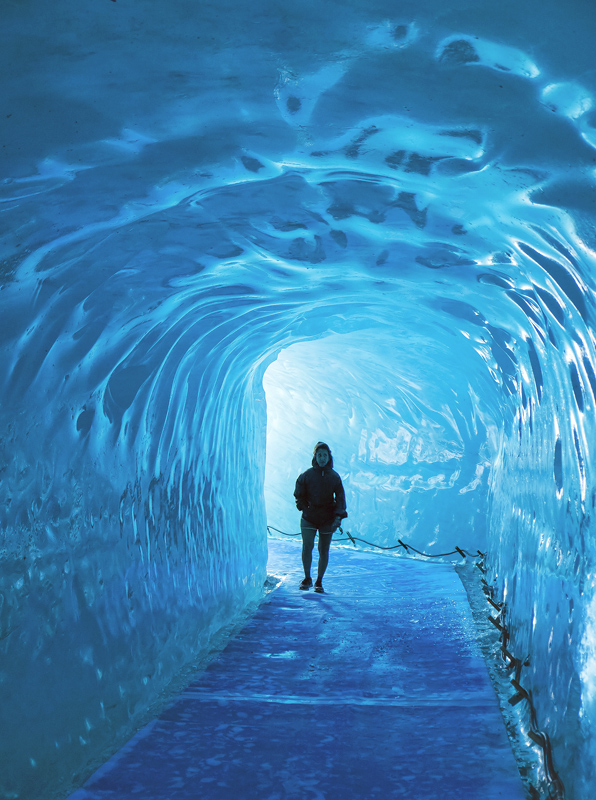 Ice Tunnel, Mer De Glace, Chamonix, France,ice caverns, glacier, compressed, blue, ice, honed, slippery, Mont Blanc Mass photo